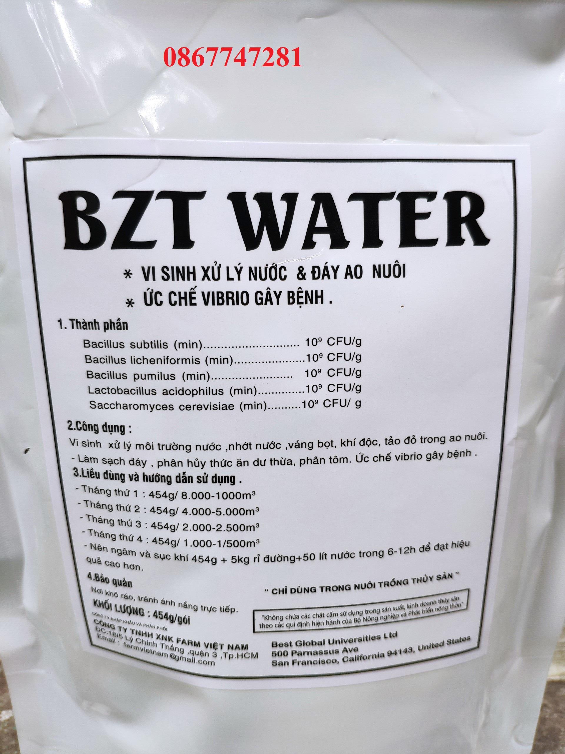 Bzt water * vi sinh xử lý nước & đáy ao nuôi * ức chế vibrio gây bệnh